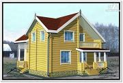 Фото: дом из бруса 9 на 10 с террасой и мансардой