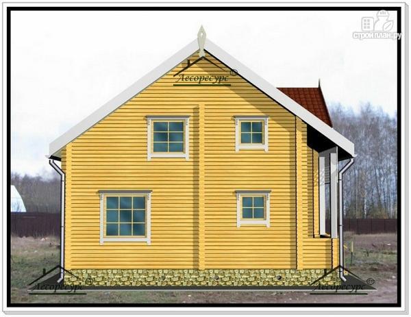 Фото 5: проект дом из бруса 9 на 10 с террасой и мансардой