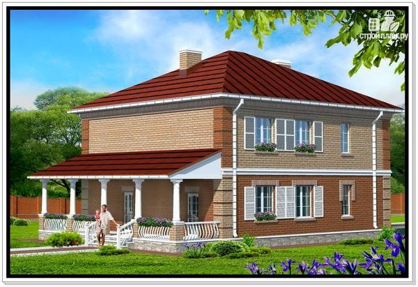 Фото 2: проект двухэтажный дом из пеноблоков с террасой