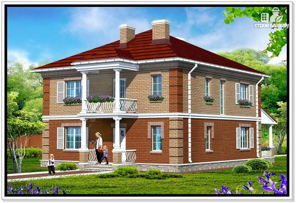 Фото: проект двухэтажный дом из пеноблоков с террасой