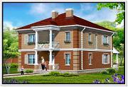 Фото: двухэтажный дом из пеноблоков с террасой