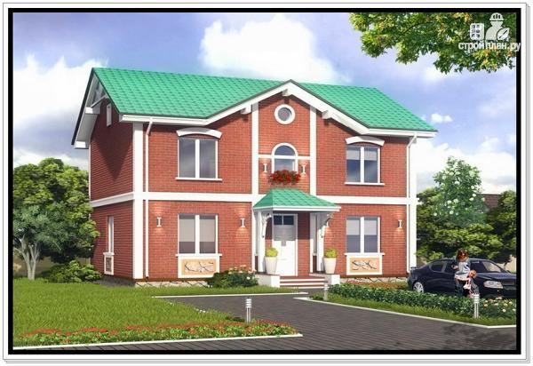 Фото: проект двухэтажный дом из пеноблоков с двускатной крышей