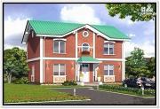 Фото: двухэтажный дом из пеноблоков с двускатной крышей
