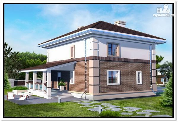 Фото 2: проект двухэтажный дом из пеноблоков с 4 х скатной крышей