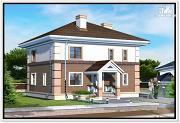 Фото: двухэтажный дом из пеноблоков с 4 х скатной крышей