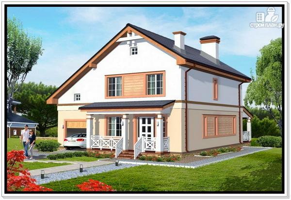 Фото: проект дом из пеноблоков с гаражом и террасой