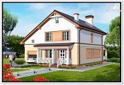 Проект дом из пеноблоков с гаражом и террасой