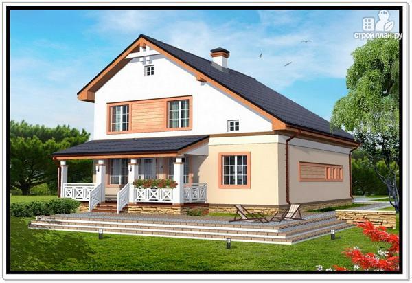 Фото 2: проект дом из пеноблоков с гаражом и террасой
