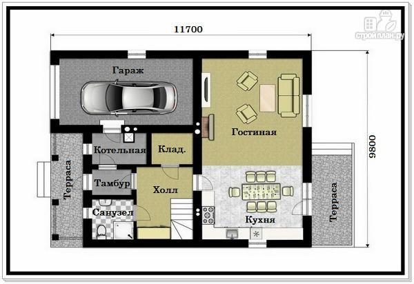 Фото 7: проект 2х этажный дом из пеноблоков с гаражом