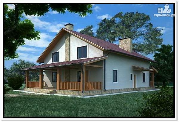 Фото: проект дом из пеноблоков с двускатной крышей и 2 террасами