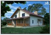 Фото: дом из пеноблоков с двускатной крышей и 2 террасами