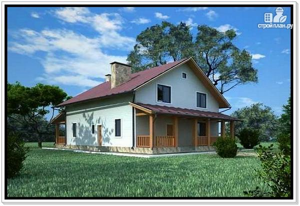 Фото 2: проект дом из пеноблоков с двускатной крышей и 2 террасами