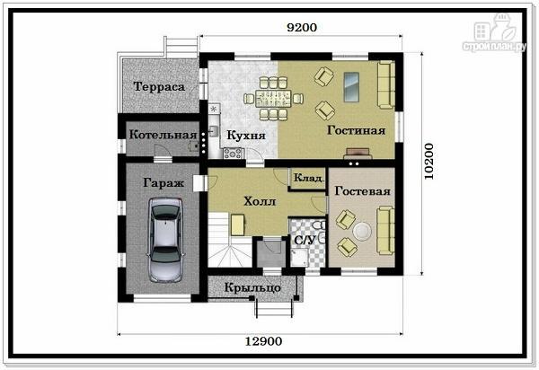 Фото 7: проект 2хэтажный коттедж из пеноблоков с гаражом