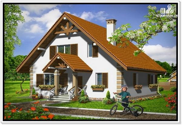 Фото: проект дом из пеноблоков 9 на 9 с двускатной крышей