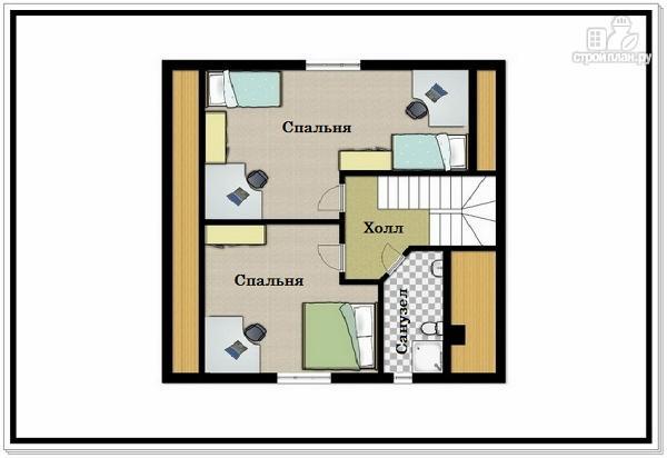 Фото 3: проект дом из пеноблоков 9 на 9 с двускатной крышей