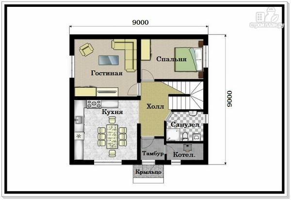 Фото 2: проект дом из пеноблоков 9 на 9 с двускатной крышей