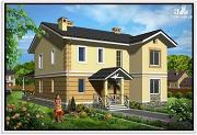 Фото: двухэтажный дом из пеноблоков