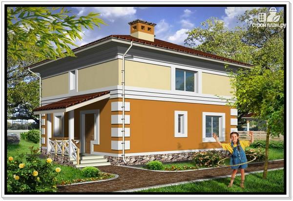 Фото: проект дом из пеноблоков с 4 х скатной крышей