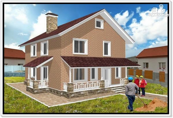Фото: проект загородный дом из пеноблоков с террасой