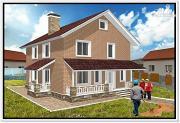 Фото: загородный дом из пеноблоков с террасой