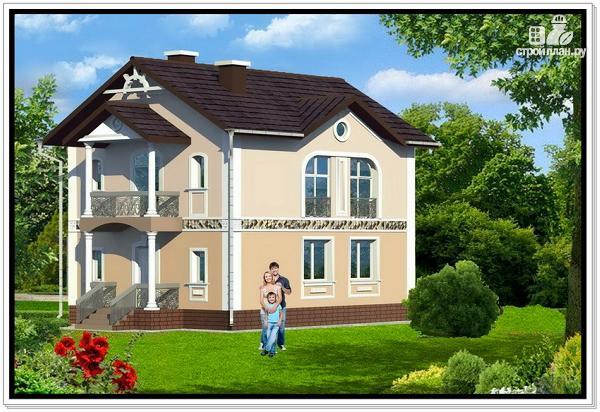 Фото 2: проект загородный дом из пеноблоков с балконом