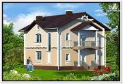 Фото: загородный дом из пеноблоков с балконом