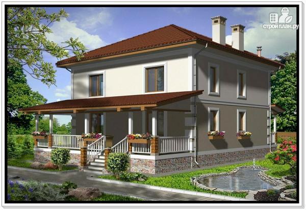 Фото 2: проект дом из пеноблоков с крыльцом и террасой