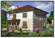 Проект дом из пеноблоков с крыльцом и террасой