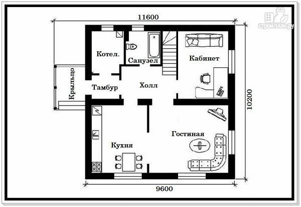 Фото 6: проект 1,5 этажный дом из пеноблоков