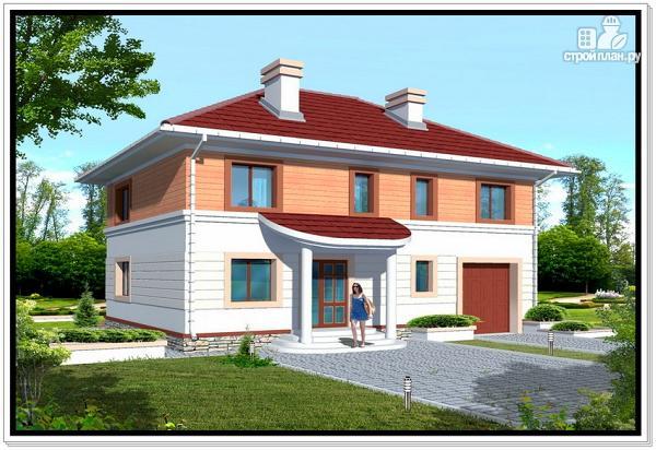 Фото: проект дом из пеноблоков с вальмовой крышей и гаражом
