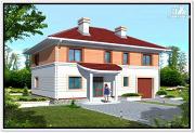 Проект дом из пеноблоков с вальмовой крышей и гаражом