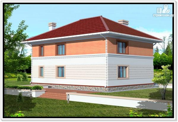 Фото 2: проект дом из пеноблоков с вальмовой крышей и гаражом