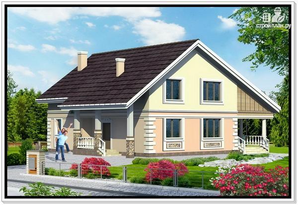 Фото: проект дом из пеноблоков с удлиненной крышей