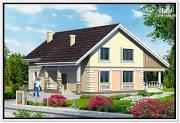 Фото: дом из пеноблоков с удлиненной крышей