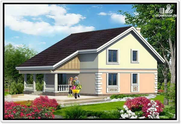 Фото 2: проект дом из пеноблоков с удлиненной крышей