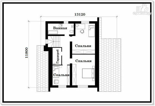 Фото 8: проект дом из пеноблоков с удлиненной крышей