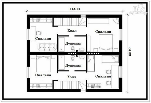 Фото 8: проект 1,5 этажный дом из пеноблоков с двускатной крышей