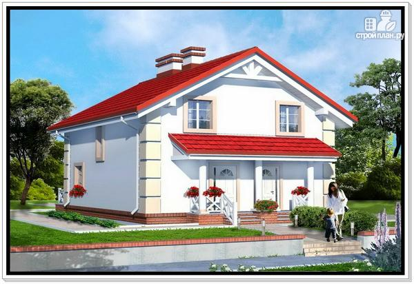 Фото: проект 1,5 этажный дом из пеноблоков с двускатной крышей