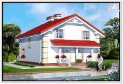 Проект 1,5 этажный дом из пеноблоков с двускатной крышей