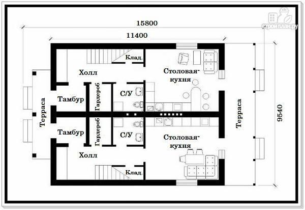 Фото 7: проект 1,5 этажный дом из пеноблоков с двускатной крышей