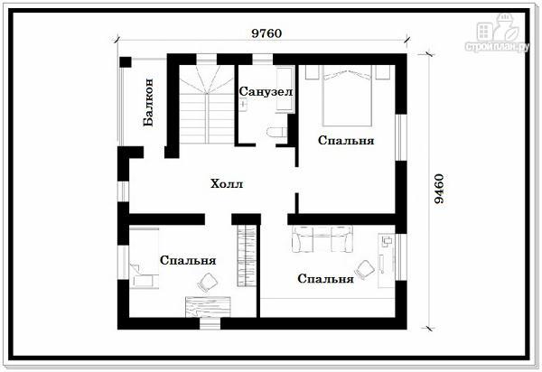 Фото 4: проект дачный дом из пеноблоков с балконом