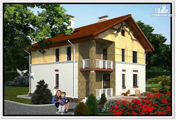 Фото: проект дачный дом из пеноблоков с балконом