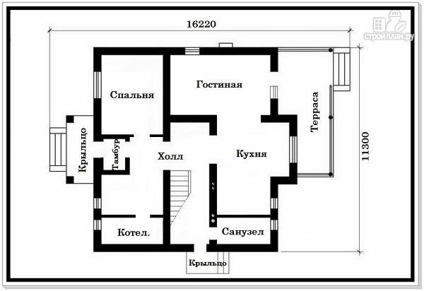 Фото 7: проект дом из пеноблоков с вальмовой крышей и балконом