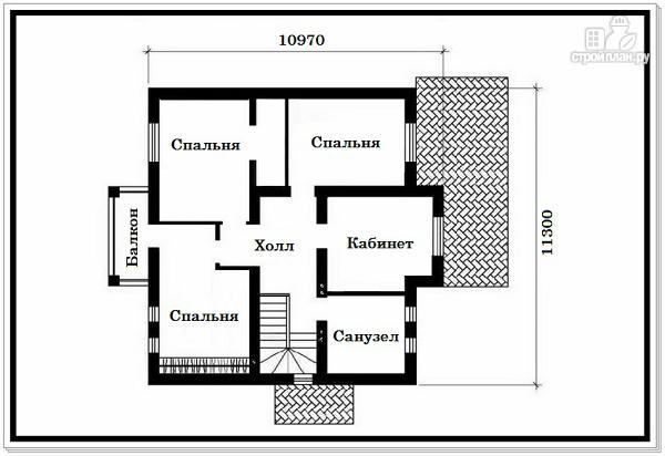 Фото 8: проект дом из пеноблоков с вальмовой крышей и балконом