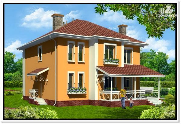 Фото 2: проект дом из пеноблоков с вальмовой крышей и балконом