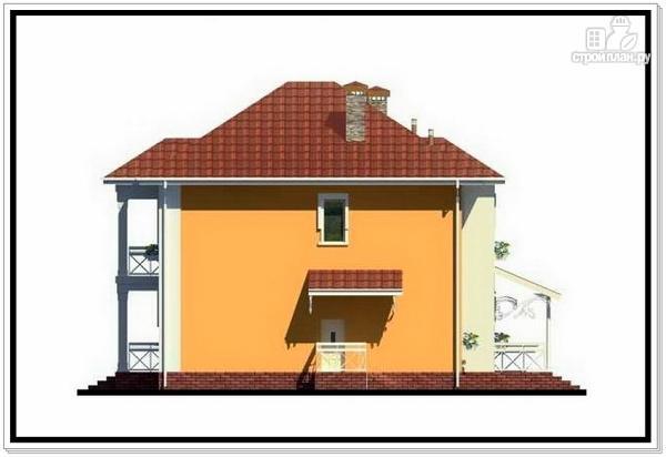 Фото 4: проект дом из пеноблоков с вальмовой крышей и балконом