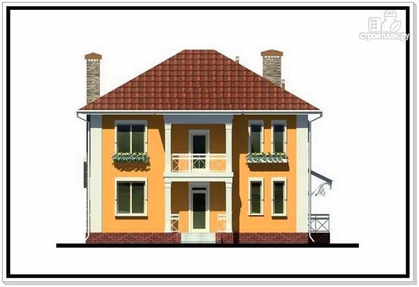 Фото 3: проект дом из пеноблоков с вальмовой крышей и балконом