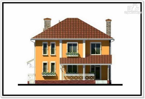 Фото 5: проект дом из пеноблоков с вальмовой крышей и балконом