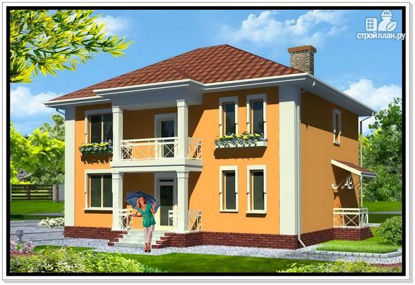 Фото: проект дом из пеноблоков с вальмовой крышей и балконом