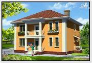 Проект дом из пеноблоков с вальмовой крышей и балконом